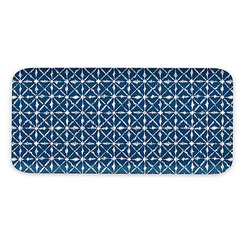 Indochine Ikat Melamine Tray, Blue
