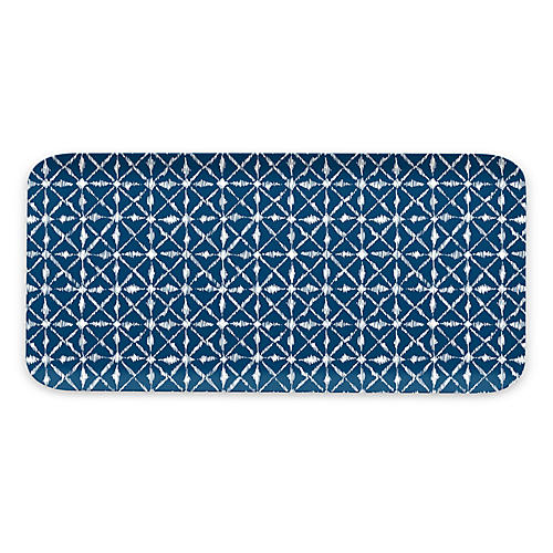 Indochine Ikat Melamine Tray, Blue