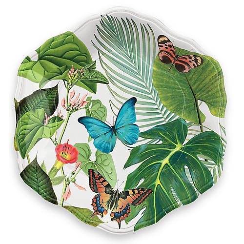 S/6 Amazon Floral Melamine Salad Plates, Green