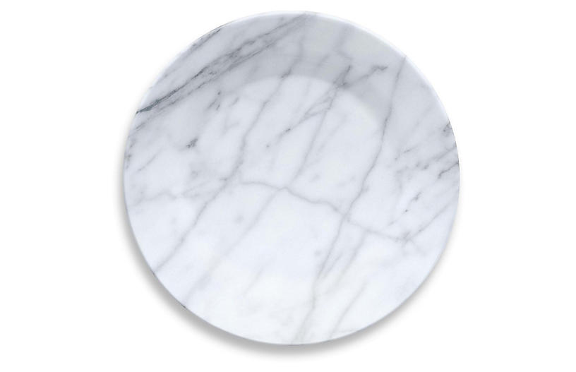 S/6 Marbled Melamine Chargers, White