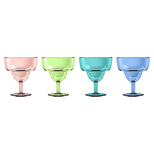 S/4 Colson Margarita Glasses, Aqua/Multi