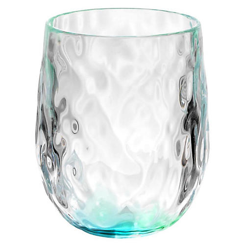 S/6 Rae Stemless Wineglasses, Turquoise
