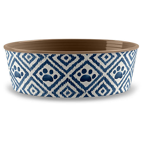 "5"" Paw Ikat Pet Bowl, Indigo"