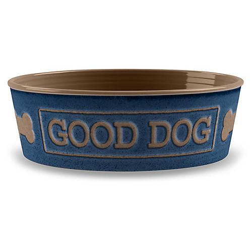 "7"" Good Dog Pet Bowl, Indigo/Mocha"
