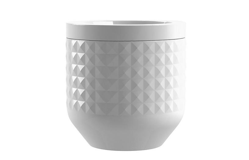 S/3 Diamond Stoneware Medium Canister, White
