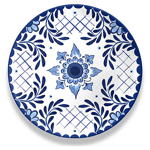 S/6 Cypress Dinner Plates, Blue/White