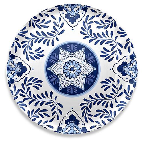 Cypress Round Platter, Blue/White