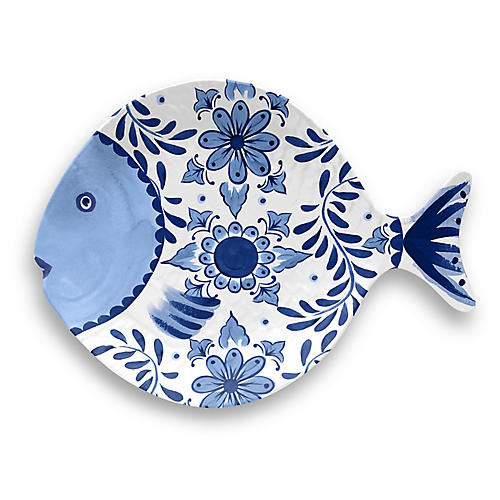 Bait Serving Tray, Blue/White