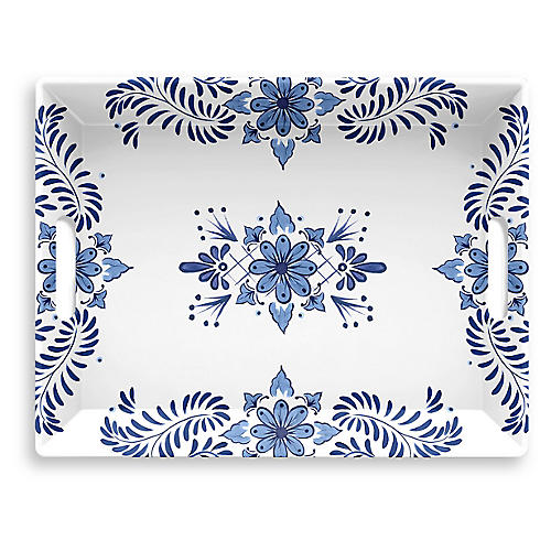 Everson Serving Tray, Blue/White