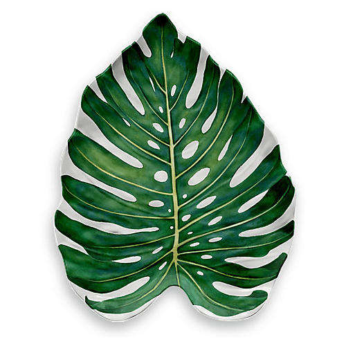 Amazon Monstera Leaf Melamine Platter, Green