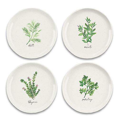 S/4 Garden Herbs Melamine Salad Plates, Green