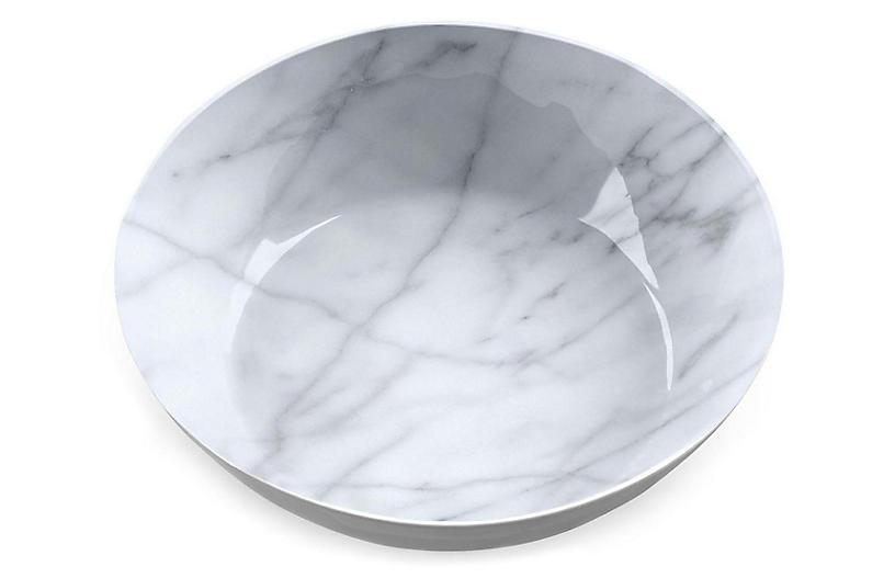 S/6 Marbled Melamine Bowls, White