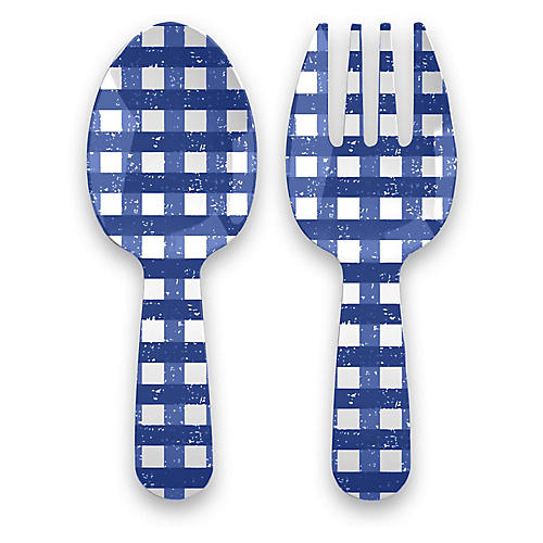 S/2 Gingham Melamine Servers, Blue