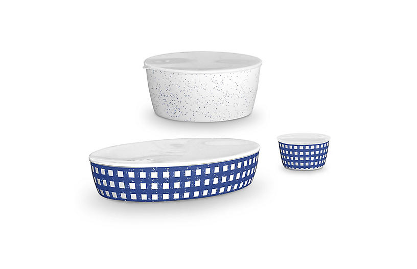 Homemade Navy Melamine Lidded Bowls, Multi