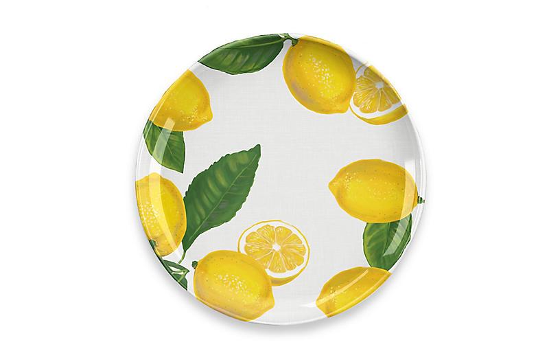 S/6 Lemon-Fresh Melamine Dinner Plate, Multi