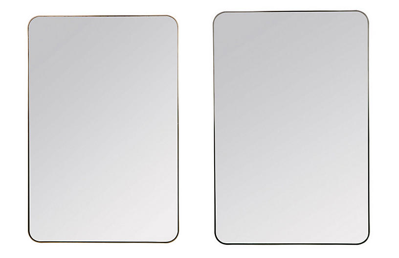 S/2 Somerset Wall Mirrors, Matte Black
