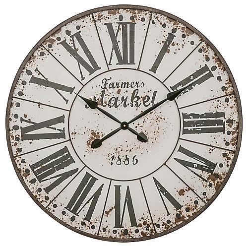 Farmer's Market Wall Clock, Distressed White