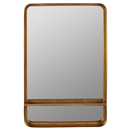 Brette Shelf Mirror, Bronzed Gold Leaf