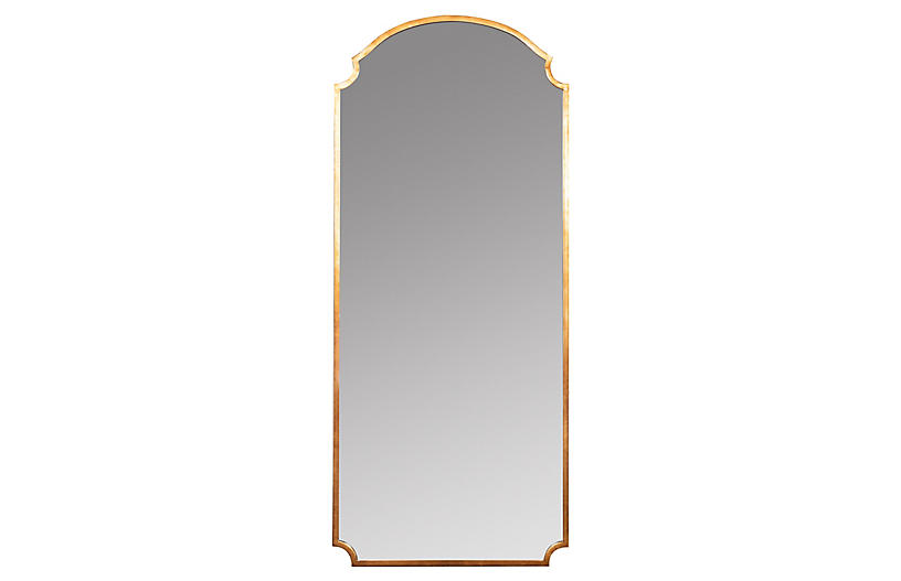 Kristen Floor Mirror, Gold Finish