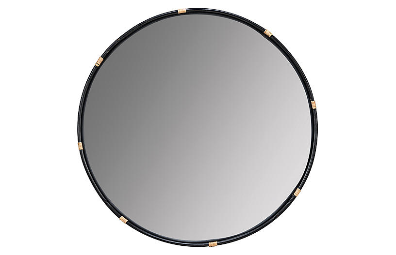 Evan Rattan Wall Mirror, Black