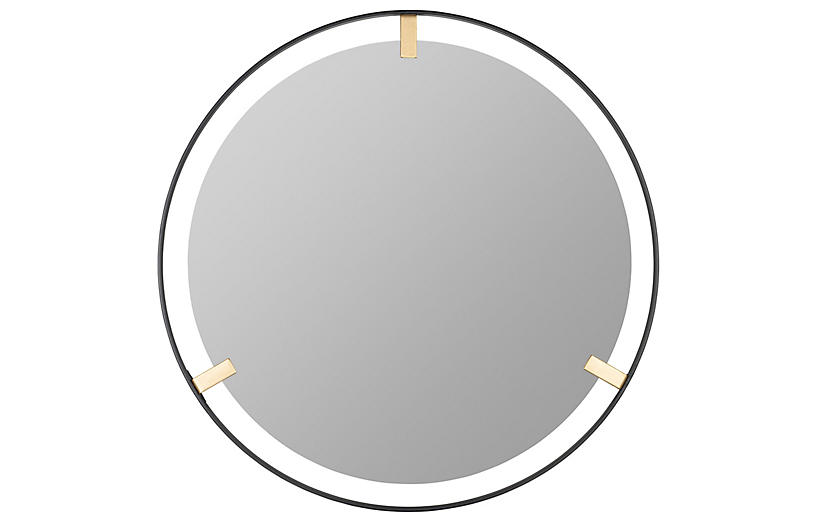 Monica Wall Mirror, Black And Gold