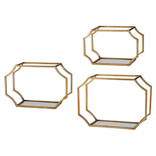 Lindee Wall Shelves, Gold