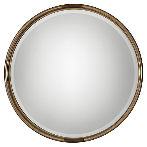 Finnick Wall Mirror, Antiqued Gold Leaf