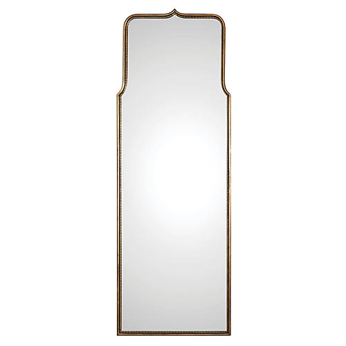Adelasia Floor Mirror, Antiqued Gold Leaf