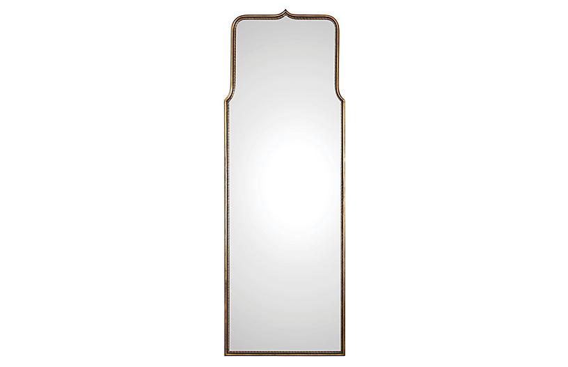 Adelasia Floor Mirror, Antiqued Gold Leaf