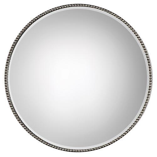 Stefania Wall Mirror, Antiqued Silver Leaf