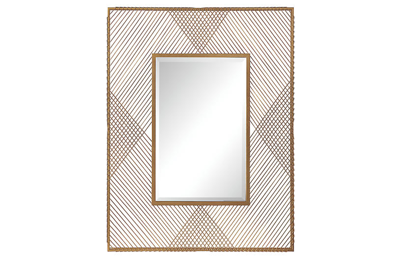 Bavol Wall Mirror, Metallic Gold Leaf