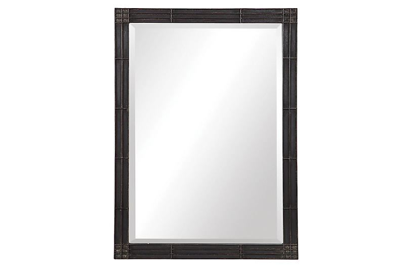 Astaire Wall Mirror, Aged Black