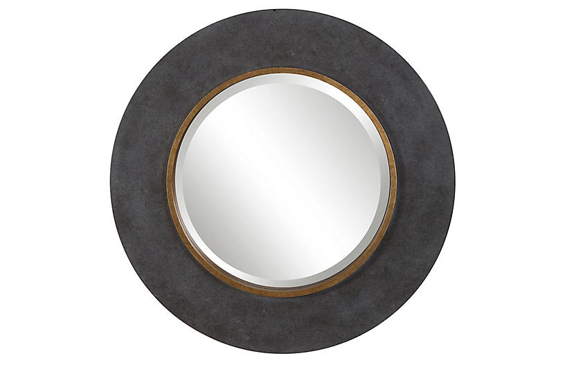 Brynner Round Wall Mirror, Charcoal
