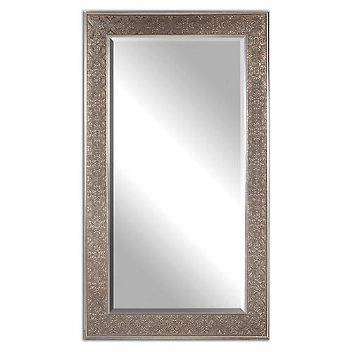 Villata Floor Mirror, Antiqued Silver Leaf/Bronze