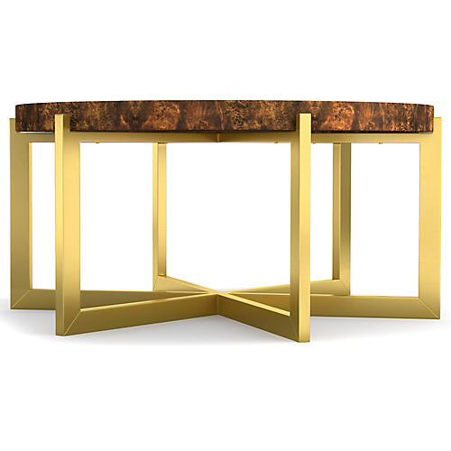 Horizon Round Coffee Table, Gold/Brown