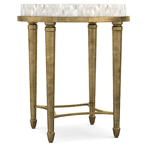 Aura Round Side Table, Ivory/Gold