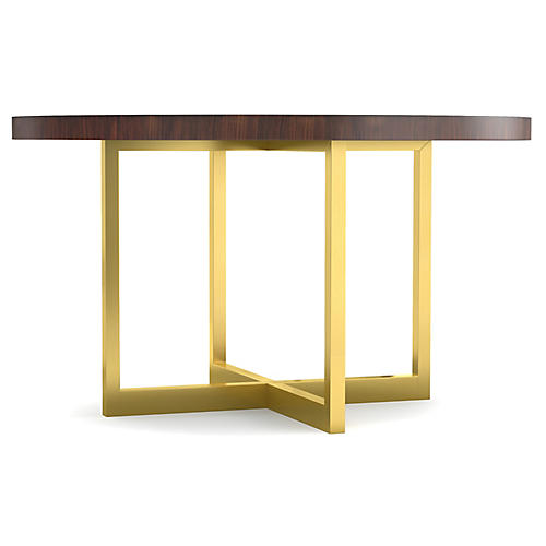 Horizon Round Dining Table, Java/Gold
