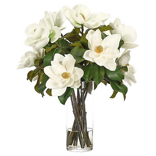 """21"""" Magnolia in Cylinder Vase, Faux"""