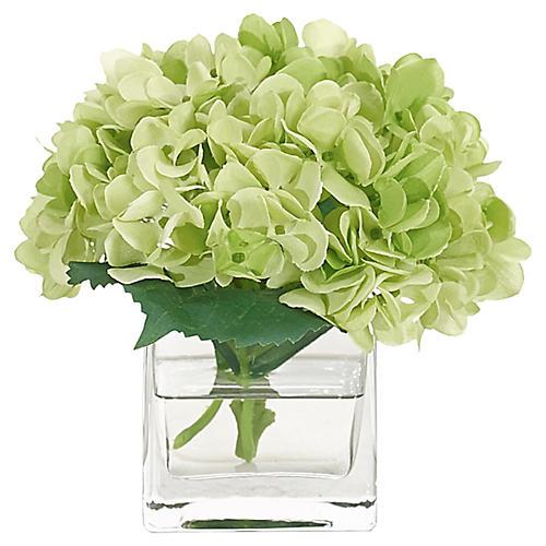 """7"""" Hydrangea in Cube Vase, Faux"""