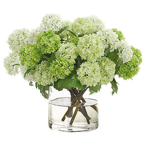 "16"" Snowball in Cylinder Vase, Faux"