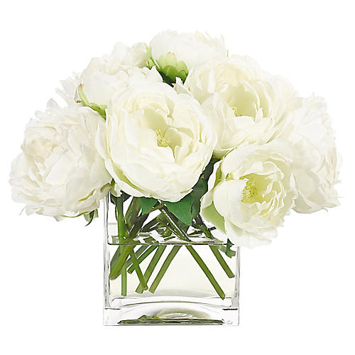 """14"""" Peony in Cube Vase, Faux"""