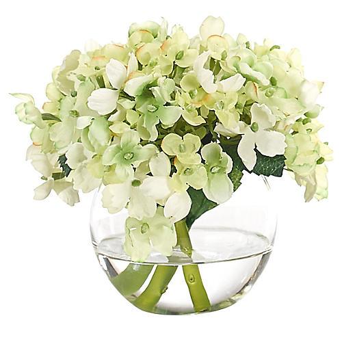 """7"""" Hydrangea in Bubble Vase, Faux"""