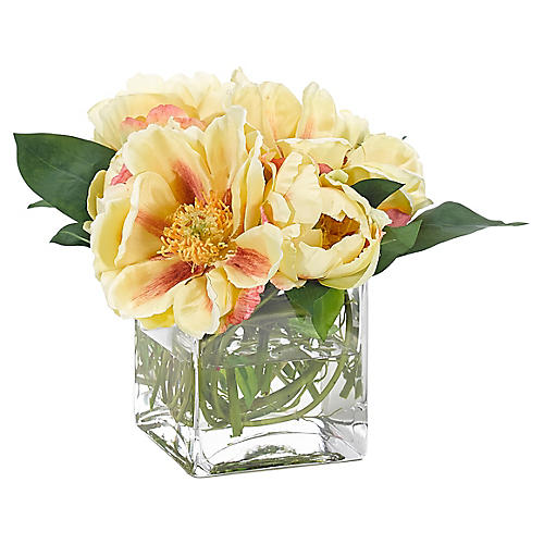 """10"""" Peony in Cube Vase, Faux"""