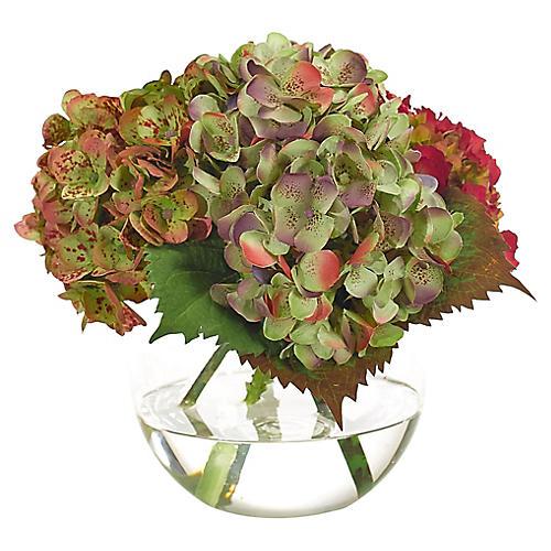 """10"""" Hydrangea in Bubble Vase, Faux"""