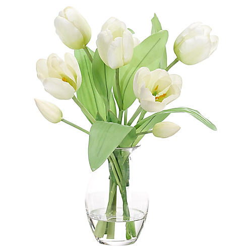 "12"" Tulip in Bubble Vase, Faux"