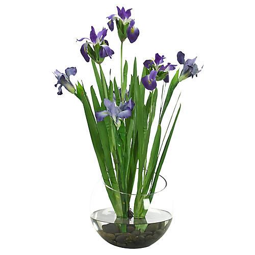 """11"""" Iris in Bubble Vase, Faux"""