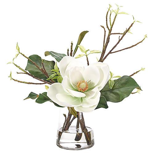 "19"" Magnolia in Pyramid Vase, Faux"