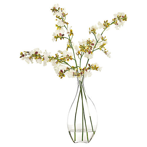 "22"" Dancing Orchid in Bubble Vase, Faux"
