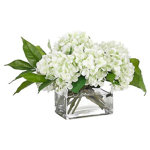 """21"""" Hydrangea in Rectangle Vase, Faux"""
