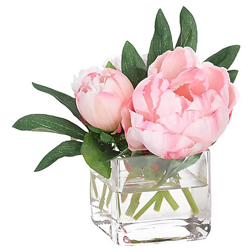 "7"" Peony in Cube Vase, Faux"
